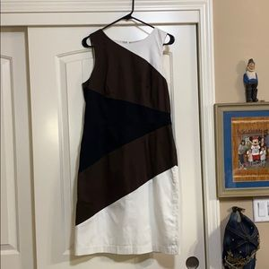 WHBM Business Dress Black/White/Brown Sz 12